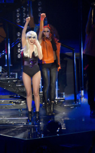 Lady Gaga picture on February 18th 2010 while performing at the Manchester Evening News Arena 4