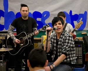 Adam Lambert picture on February 18th 2010 while with a group of kids in Los Angeles 5