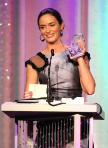 Emily Blunt picture with her Swarovski Award during the 12th Annual Costume Designers Guild Awards with Presenting Sponsor Swarovski held on February 25th 2010 at The Beverly Hilton hotel in California 5