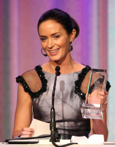 Emily Blunt picture with her Swarovski Award during the 12th Annual Costume Designers Guild Awards with Presenting Sponsor Swarovski held on February 25th 2010 at The Beverly Hilton hotel in California 4