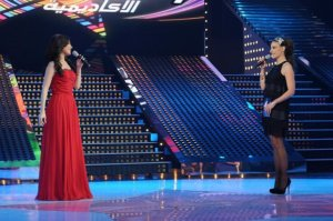 LBC Star Acdemy seven photo of the second prime on February 26th 2010 while Lebanese Singer Yara on stage being introduced by lebanese TV hostess Hilda Khalife