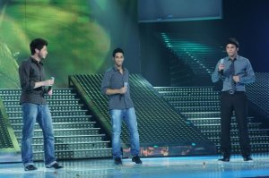 LBC Star Acdemy seven photo of the second prime on February 26th 2010 while Haitham from KSA and Rami and Ryan from Lebanon singing together on stage