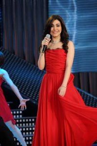 LBC Star Acdemy seven photo of the second prime on February 26th 2010 while Lebanese Singer Yara on stage wearing a glam red dress
