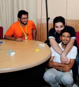 picture of Kuwaiti student Abdul Aziz Dfairi with his friends before star academy
