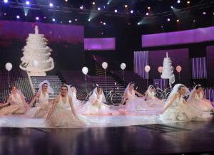 picture of the second prime of Star Academy 7 on February 26th 2010 while Miral from Syria performs on stage during a bridal tableau