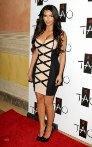 Kim Kardashian arrives at Tao Nightclub on February 27th 2010 at the Venetian Resort Casino in Las Vegas Nevada to promote her new fragrance Sephora 1