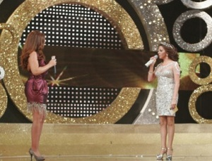 Iraqi singer Shatha Hassoun at the season two finale of Perfect Bride of 2009 at the LBC TV channel interviewed by Razan Moghrabi