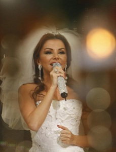 Razan Al Moghrabi picture wearing a wedding dress at the season two finale of Perfect Bride of 2009 at the LBC TV channel 1