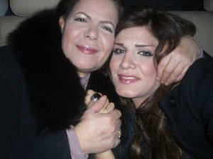 Amal Mahalawi with her mother in Tunis