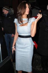 Mezhgan Hussainy wearing a gray stylish dress as she was leaving the Mr Chow restaurant after having dinner on February 6th 2010 in London
