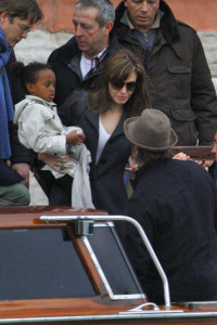 Angelina Jolie and Brad Pitt picture as they were leaving their apartment with their children on February 28th 2010 in Venice 4