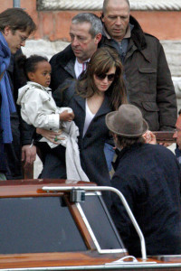 Angelina Jolie and Brad Pitt picture as they were leaving their apartment with their children on February 28th 2010 in Venice 1