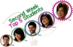 Second Week Top five students, with Miral Faisal as the top student
