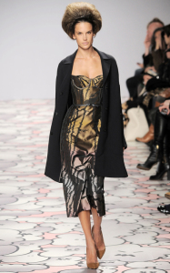 Alessandra Ambrosio picture on March 3rd 2010 while on the runway of the Giles Deacon Fall Winter fashion show 3