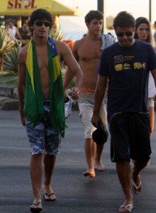 Jesus Luz spotted at the beach of Ipanema on February 2nd 2010 while wearing a patterned swim shorts and walking down with his manager Ibrahim Peterson