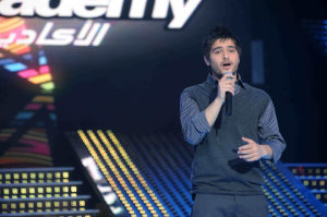 third prime of star academy 2010 on March 5th 2010 photo of Nassif Zaitoun from syria singing on stage