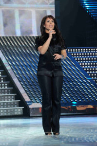 third prime of star academy 2010 on March 5th 2010 photo of Badreya from Morocco singing on stage