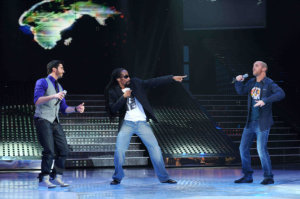 third prime of star academy 2010 on March 5th 2010 photo of Gary Pine singing with Mhedi from Algeria and Mahmoud Shoukry from Egypt