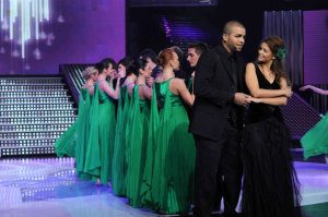 star academy fouth prime on March 12th 2010 picture of Rania from Egypt and Mohamad Ramadan singing together on stage