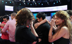 star academy fouth prime on March 12th 2010 picture of rania from Egypt and Miral from Syria crying for Aline Kessis as she leaves star academy