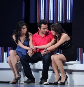 star academy fouth prime on March 12th 2010 picture of the three nominees basel from jordan with aline from lebanon and tahra from morocco sitting at the stage