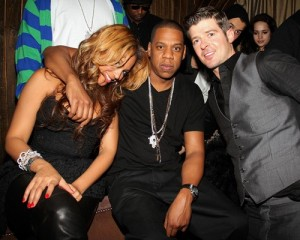 Beyonce Knowles and Jay Z seen together at the birthday party of Robin Thicke on March 17th 2010 at 1Oak in New York City 1