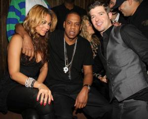 Beyonce Knowles and Jay Z seen together at the birthday party of Robin Thicke on March 17th 2010 at 1Oak in New York City 2