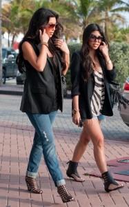 Kim Kardashian and Kourtney Kardashian seen walking together towards Devitos restaurant on March 21st 2010 in Miami Florida 5