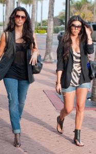 Kim Kardashian and Kourtney Kardashian seen walking together towards Devitos restaurant on March 21st 2010 in Miami Florida 1