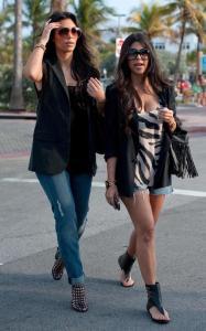 Kim Kardashian and Kourtney Kardashian seen walking together towards Devitos restaurant on March 21st 2010 in Miami Florida 3