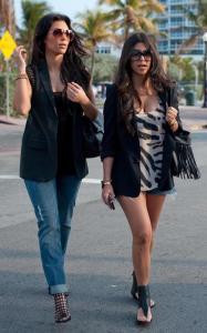 Kim Kardashian and Kourtney Kardashian seen walking together towards Devitos restaurant on March 21st 2010 in Miami Florida 4