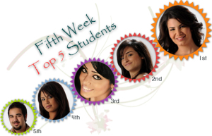 fifth week top five students on March 26th 2010 with Asmaa at the top position and she will be joining both Mohammad Ramadan and Rahma Mezher in their trip to Euro Disney Land in Paris