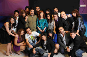 picture of the Fifth Prime of star academy on March 19th 2010 with the students together with manager of the academy Rola Saad backstage