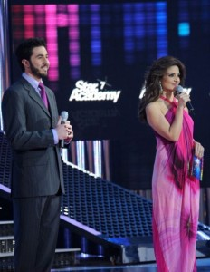 picture of the Fifth Prime of star academy on March 19th 2010 with Hilda Khalife with Delegate of the week Mohamad shokry who won an extension for his responsibilities