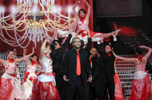 picture of the Fifth Prime of star academy on March 19th 2010 with student Mohamad Ramadan singing on stage
