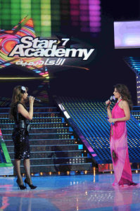 picture of the Fifth Prime of star academy on March 19th 2010 with Hilda Khalife together with Nawal Al Zoghbi
