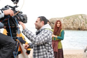 turkish model and actress Tuba Buyukustun on the set of a new turkish darama series of the name of Gonulcelen 9