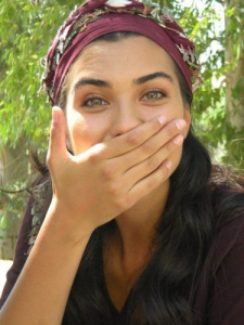 turkish model and actress Tuba Buyukustun on the set of a new turkish darama series of the name of Gonulcelen 2