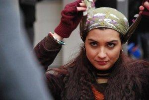model and actress Tuba Buyukustun on the set of a new turkish darama