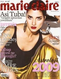 turkish model and actress Tuba Buyukustun Photo shoot for an issue of Marie Calire Magazine cover