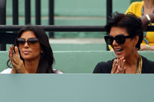 Kim Kardashian and her mother Kris Jenner together on day seven of the 2010 Sony Ericsson Open on March 29th 2010 at Crandon Park Tennis Center 1
