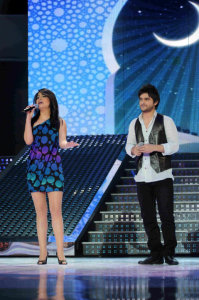 picture of the seventh prime of star academy 7 on April 2nd 2010 with Asmaa Mahalauoi and Nassif Zaitoun singing a duet