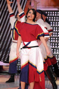 picture of the seventh prime of star academy 7 on April 2nd 2010 with Asma from Tunis in a Dabkeh Tableau