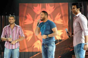 picture of the seventh prime of star academy 7 on April 2nd 2010 with Ramy Ayyach singing live with both Mohammad Ali from Egypt and Mohamad Ramadan from Jordan