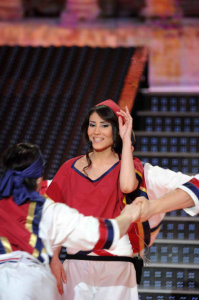 picture of the seventh prime of star academy 7 on April 2nd 2010 with Tahra from Morocco in a Dabkeh Tableau