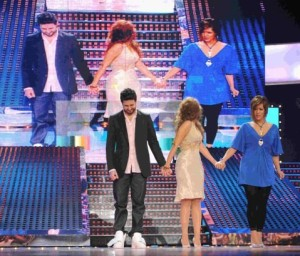 picture of the seventh prime of star academy 7 on April 2nd 2010 with the nominees Meral from Syria and Rania and Mahmoud Shokry from Egypt waiting for the audience voting results