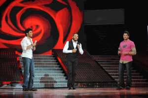 picture of the seventh prime of star academy 7 on April 2nd 2010 with Ramy Ayyach singing live with both Lebanese students Ramy Chemali and Rayan Eid