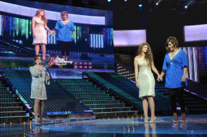 picture of the seventh prime of star academy 7 on April 2nd 2010 with with both nominated girls Meral from Syria and Rania from Egypt waiting for their friends votes