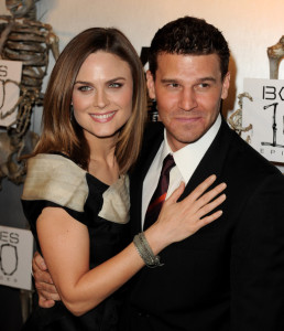 Emily Deschanel and David Boreanaz arrive at Fox TVs celebration of Bones 100th episode at 650 North on April 7th 2010 in Los Angeles 1