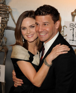 Emily Deschanel and David Boreanaz arrive at Fox TVs celebration of Bones 100th episode at 650 North on April 7th 2010 in Los Angeles 7